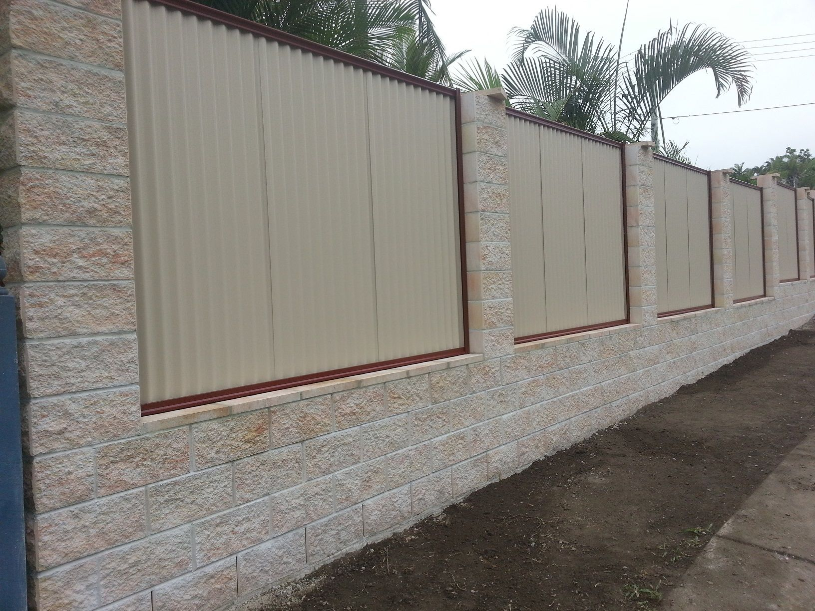 Elegant White Cement Block Fence Wall That Decorated With Iron Size 1632 X 1224