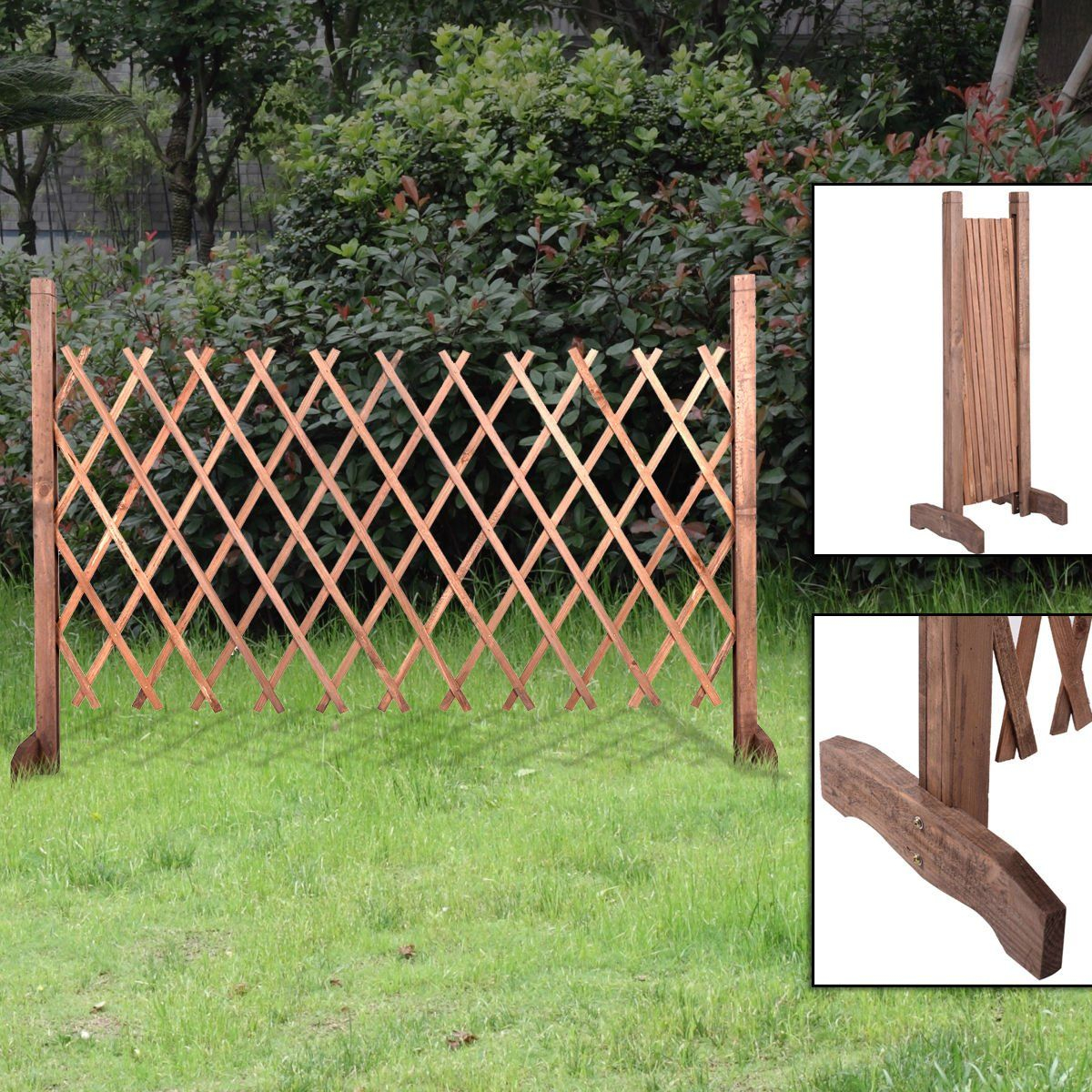Expanding Portable Wooden Fence Screen Gate Kid Safety Dog Pet Patio Inside  Measurements 1200 X 1200