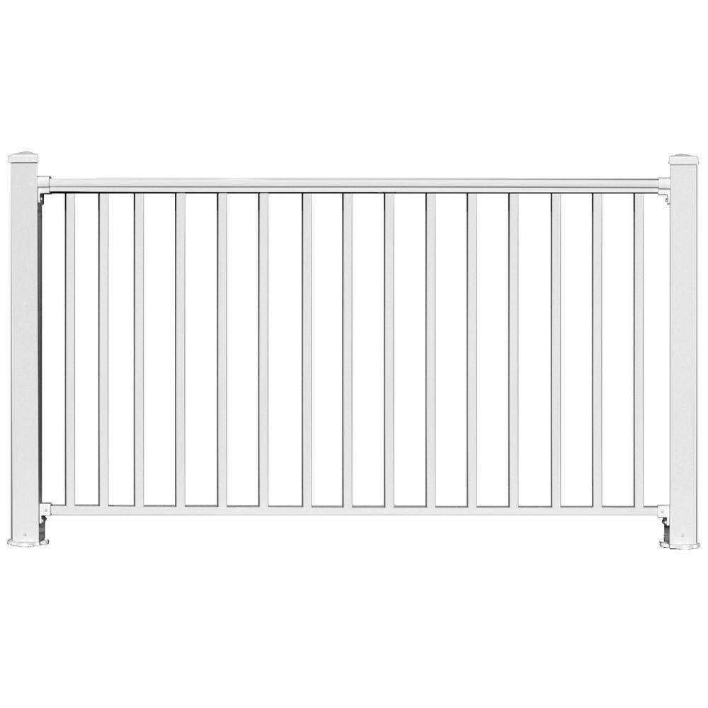 Ez Handrail 6 Ft X 54 In White Aluminum Fence Panel Kit With 1 In inside proportions 1000 X 1000