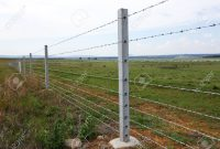 Farm Fence With Concrete Fencing Posts And Barbed Wire Strands Stock for proportions 1300 X 866