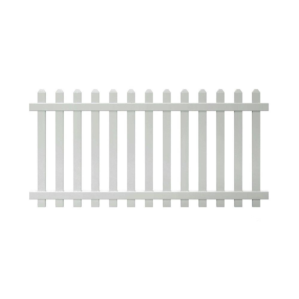 Glendale 4 Ft H X 8 Ft W White Vinyl Spaced Picket Unassembled throughout size 1000 X 1000