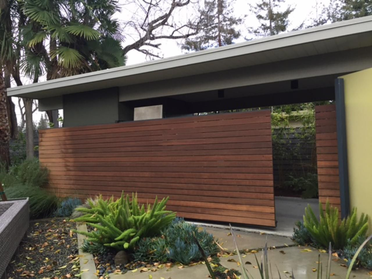 Mid Century Modern Courtyard With Sliding Ipe Fence Wood Regard To Measurements 1280 X
