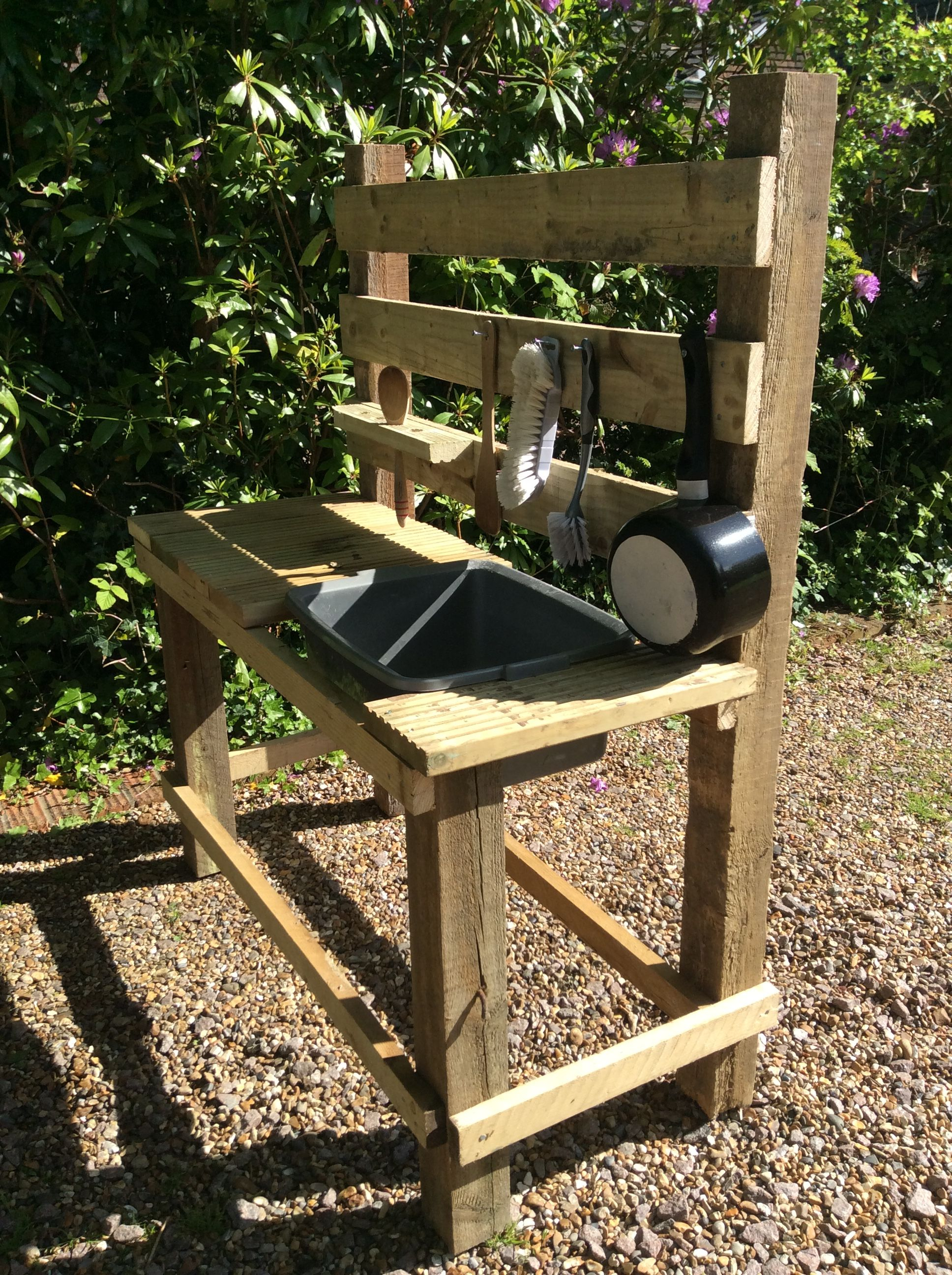 Mud Kitchen Made From Old Fence Posts And Deck Boards My Little within size 1936 X 2592