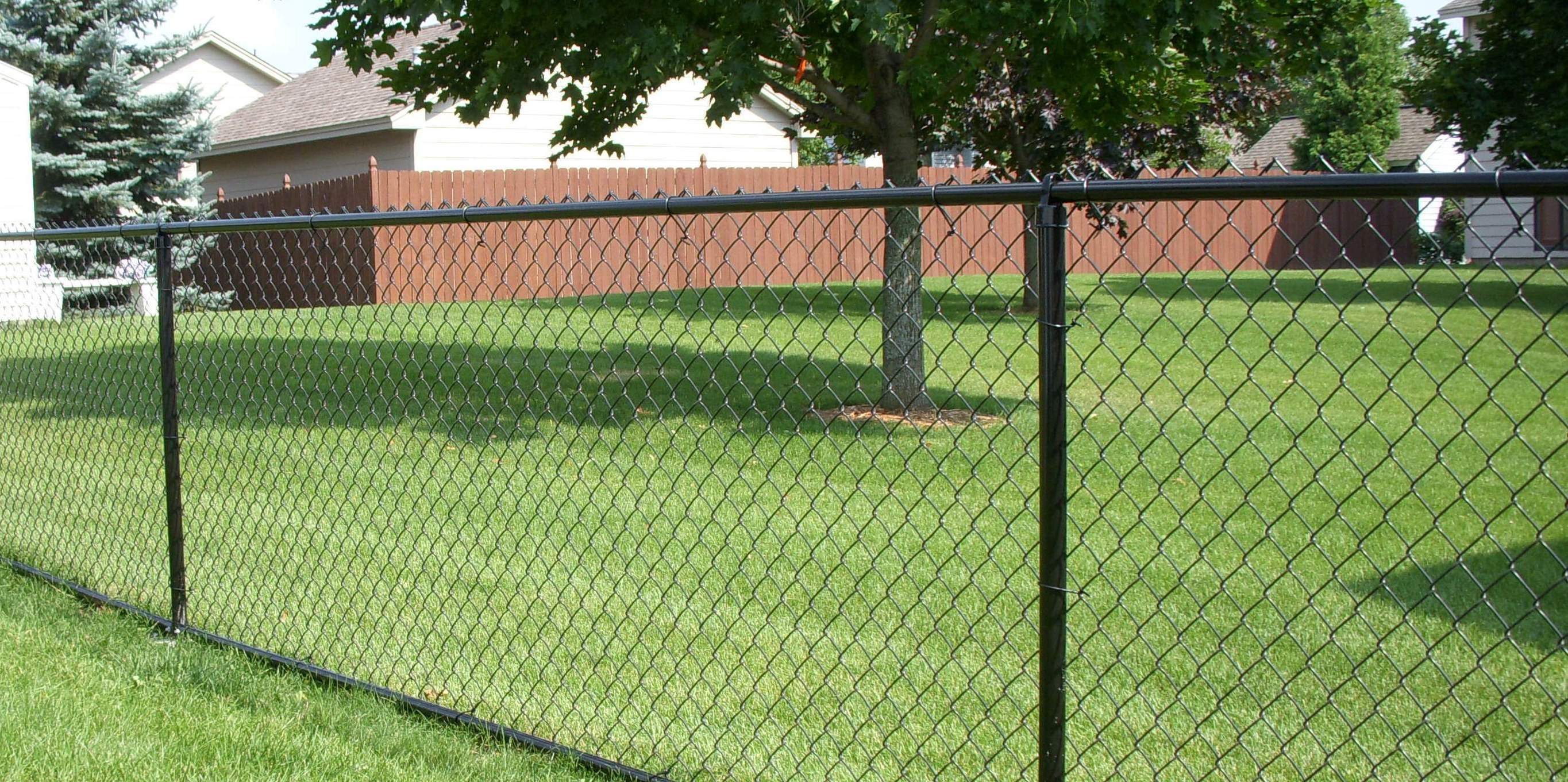 Residential Black Vinyl Chain Link Installation Fence Okc inside sizing 2729 X 1361