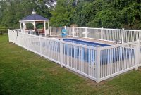 Vinyl Cayuga Yard Fence Installed Around An Inground Pool In Vernon in proportions 2560 X 1920
