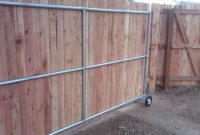 Wood Fence Ideas With A Gate Steel Framed Roll Gate With Wood in sizing 2048 X 1536