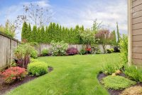 Fenced Backyard View Of Lawn And Blooming Flower Beds with regard to measurements 1300 X 866
