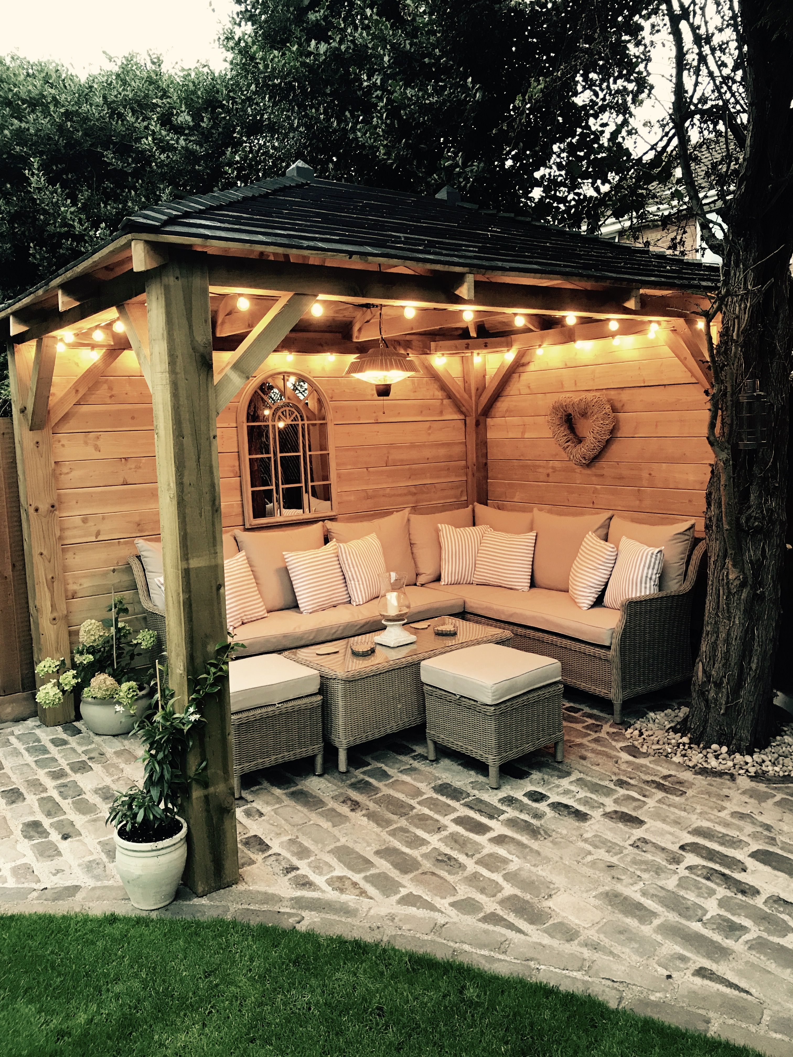 Homemade Wooden Gazebo Cobbles Garden Lights Outdoor Sofa with size 3024 X 4032