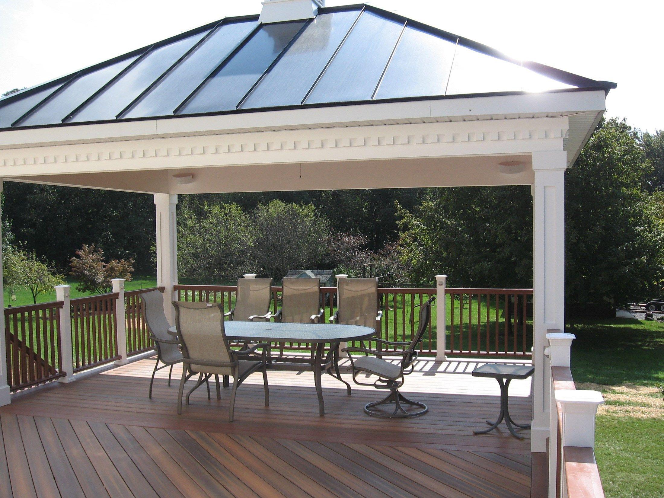 A Fiberon Deck And Rail With A Hip Style Roof Pavilion The inside measurements 2200 X 1650