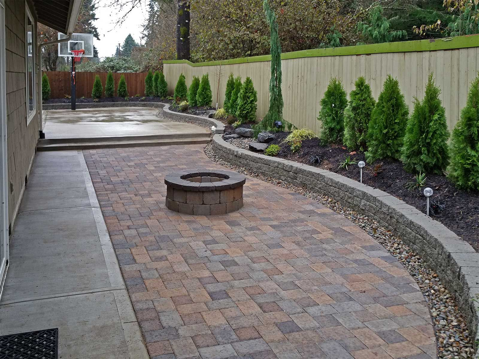 Backyard Paver Patio Connected To A Concrete Slab Basketball with regard to dimensions 1600 X 1200