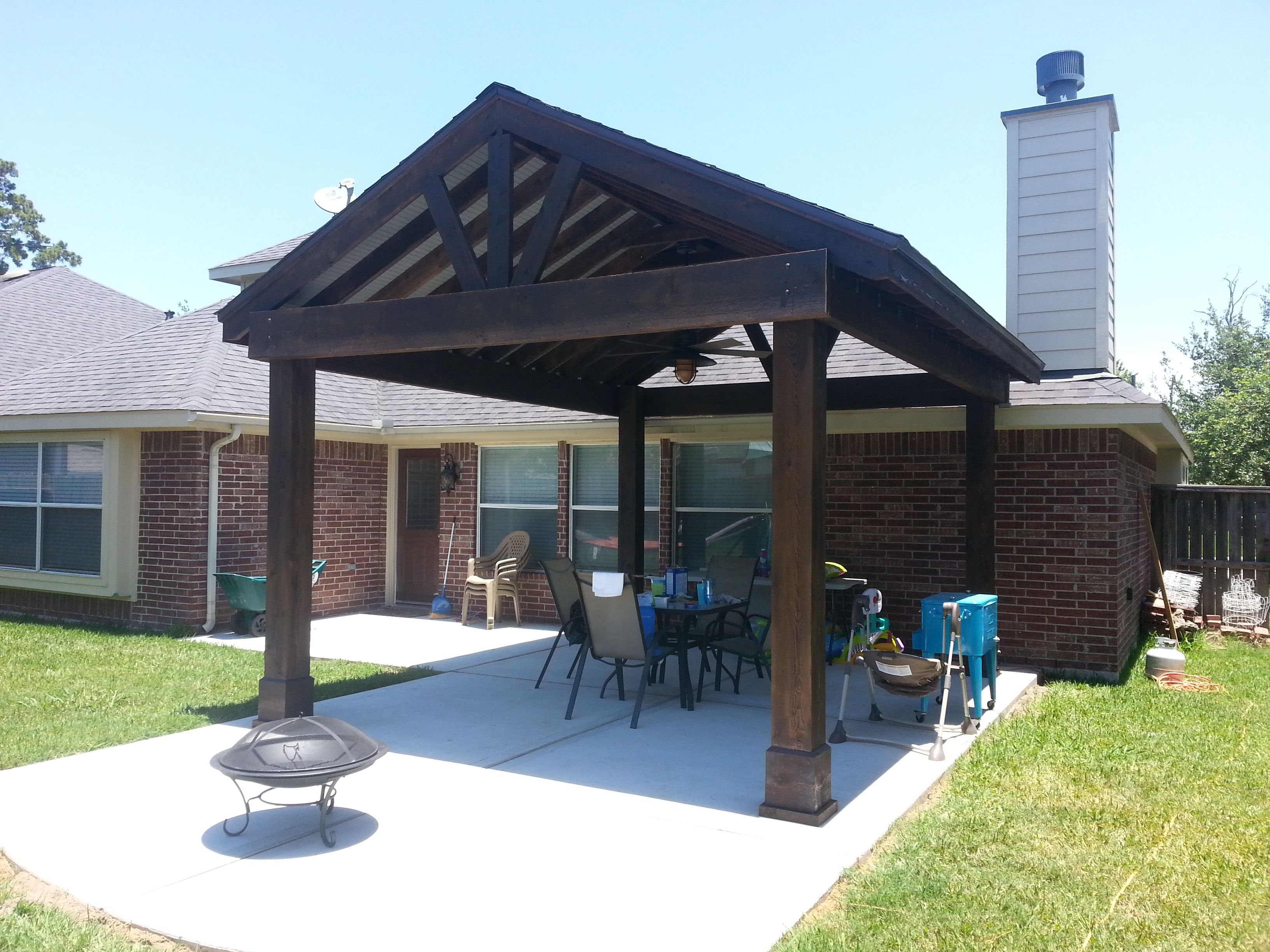 Beautiful Free Standing Stained Wood Gable Patio Cover intended for proportions 3264 X 2448