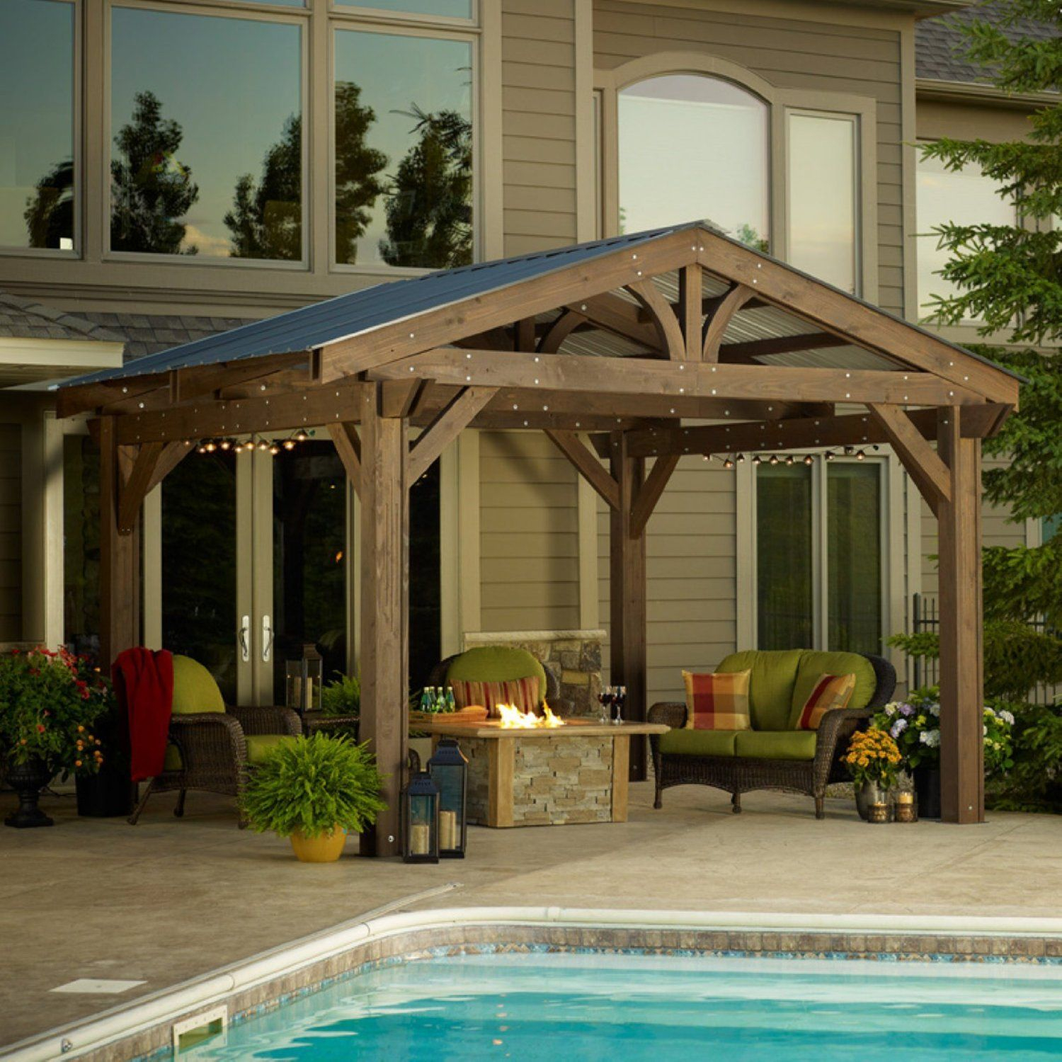 Beefy Wooden Pergola With Corrugated Metal Roof Outdoor in dimensions 1500 X 1500