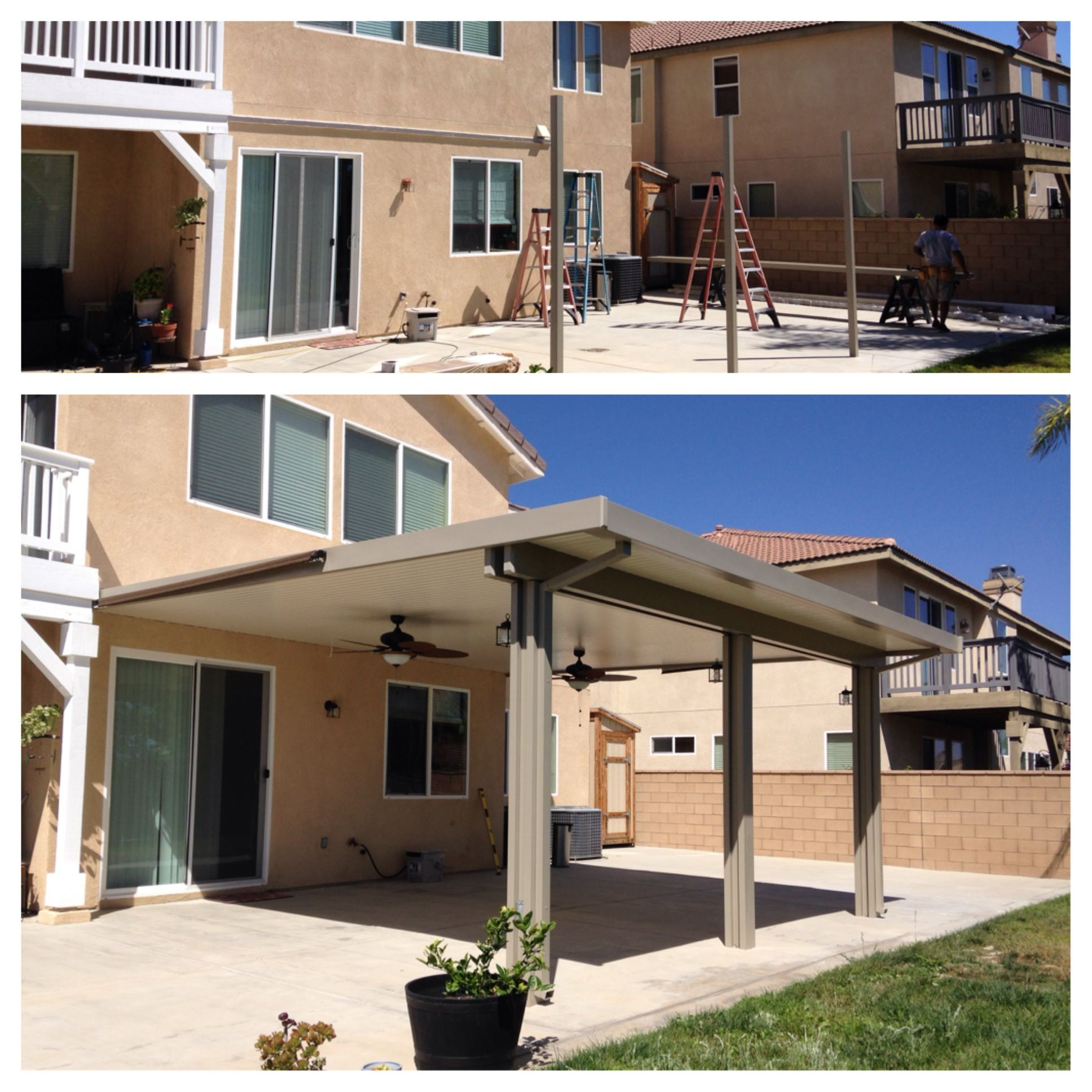 Before And After Construction Of An Aluminum Patio Cover intended for sizing 1936 X 1936