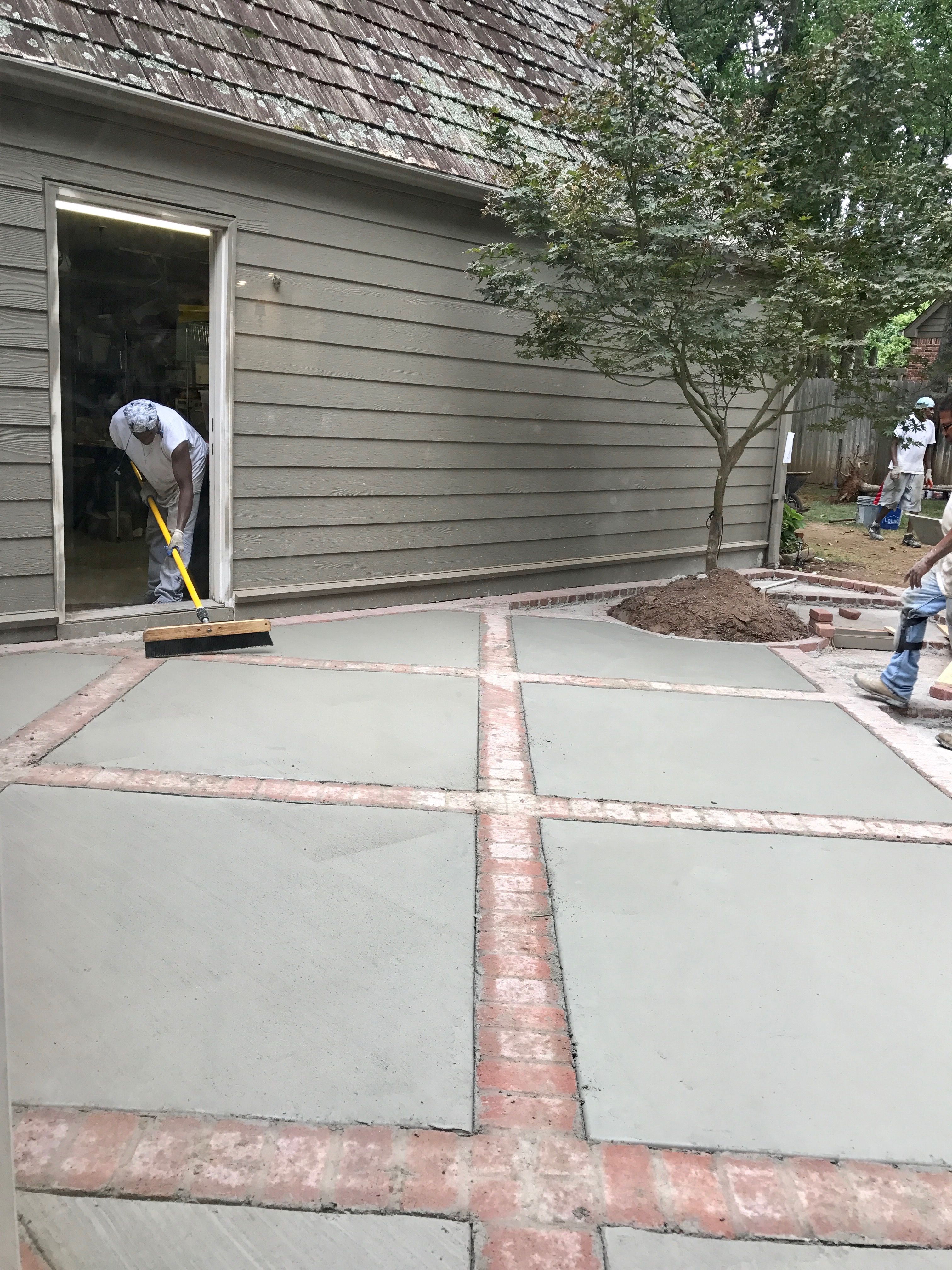 Brick And Concrete Diamond Design Patio Concrete Patio in measurements 3024 X 4032