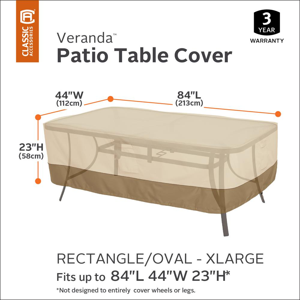 Classic Accessories Veranda X Large Rectangular Patio Table Cover intended for size 1000 X 1000