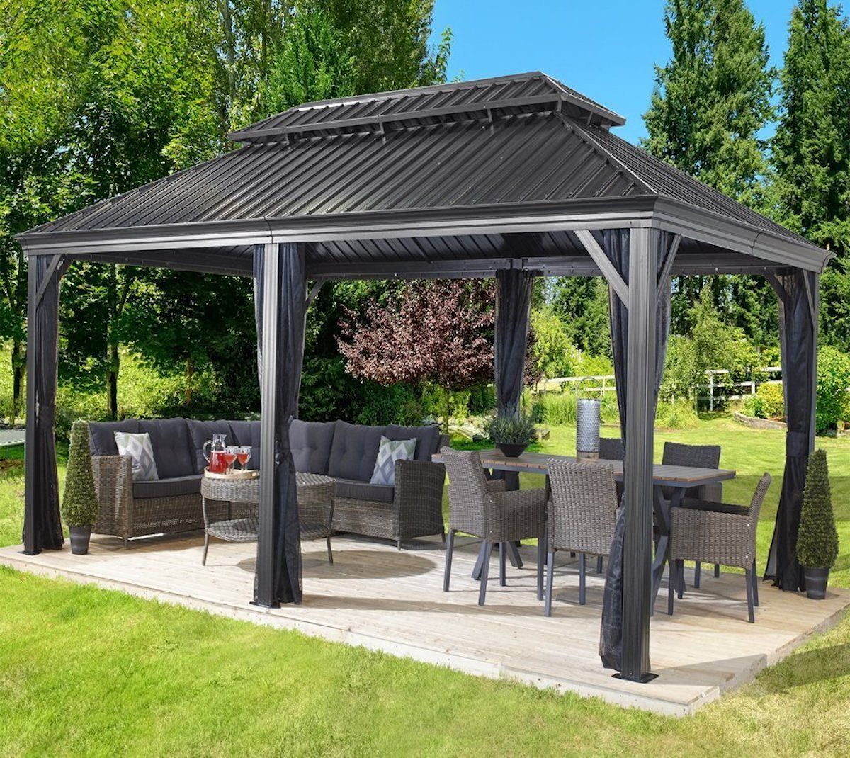 Details About Patio Sun Shelter Pool Furniture Gazebo 12 X inside dimensions 1200 X 1070