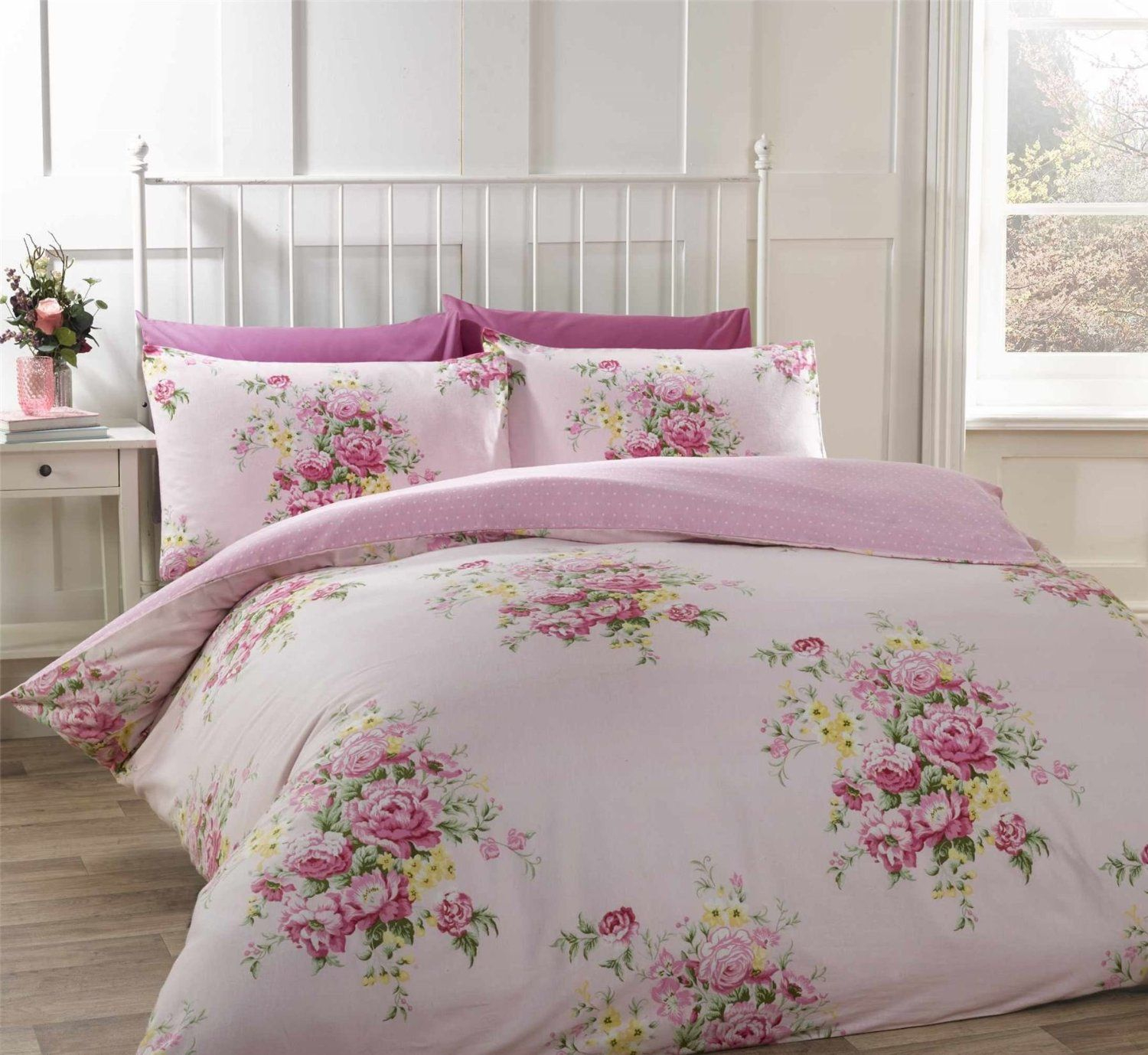 Floral Rose Pink Brushed Cotton Canadian Queen Size 230cm X intended for sizing 1500 X 1378