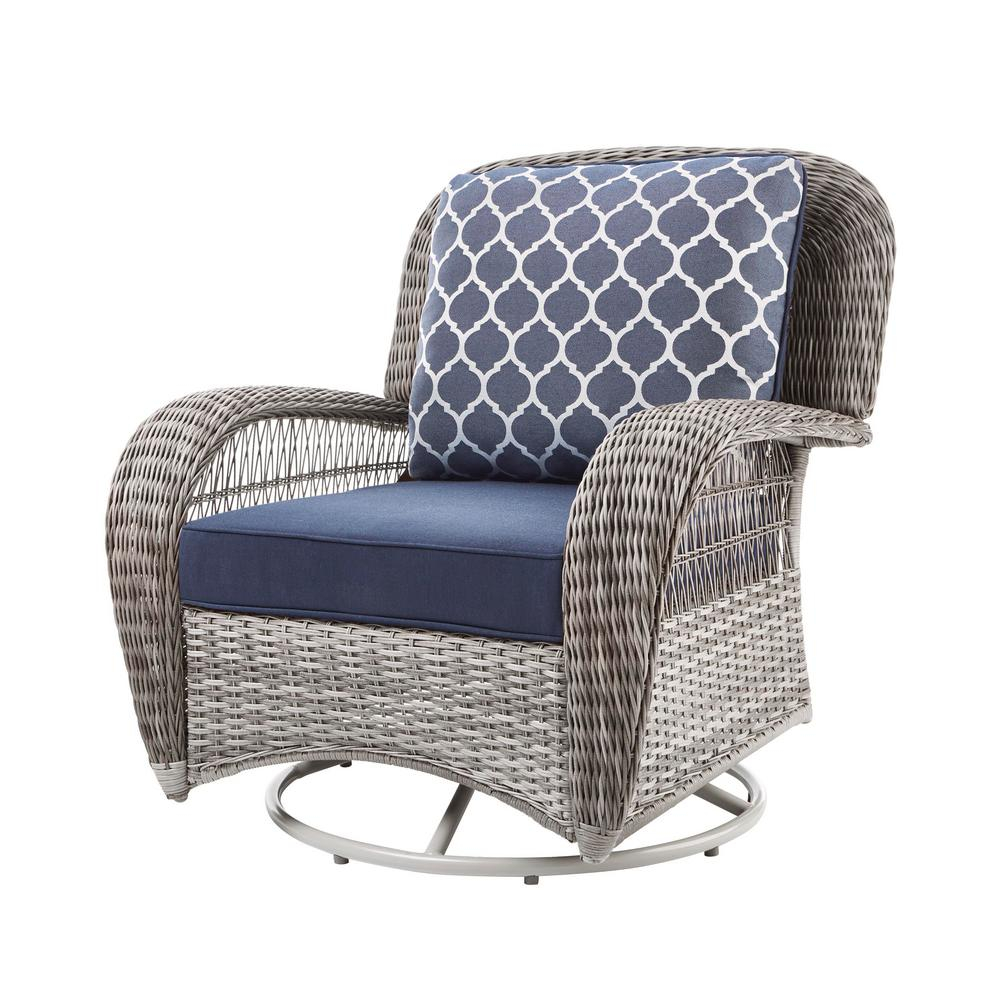 Hampton Bay Beacon Park Gray Wicker Outdoor Patio Swivel Lounge Chair With Standard Midnight Trellis Navy Blue Cushions inside proportions 1000 X 1000