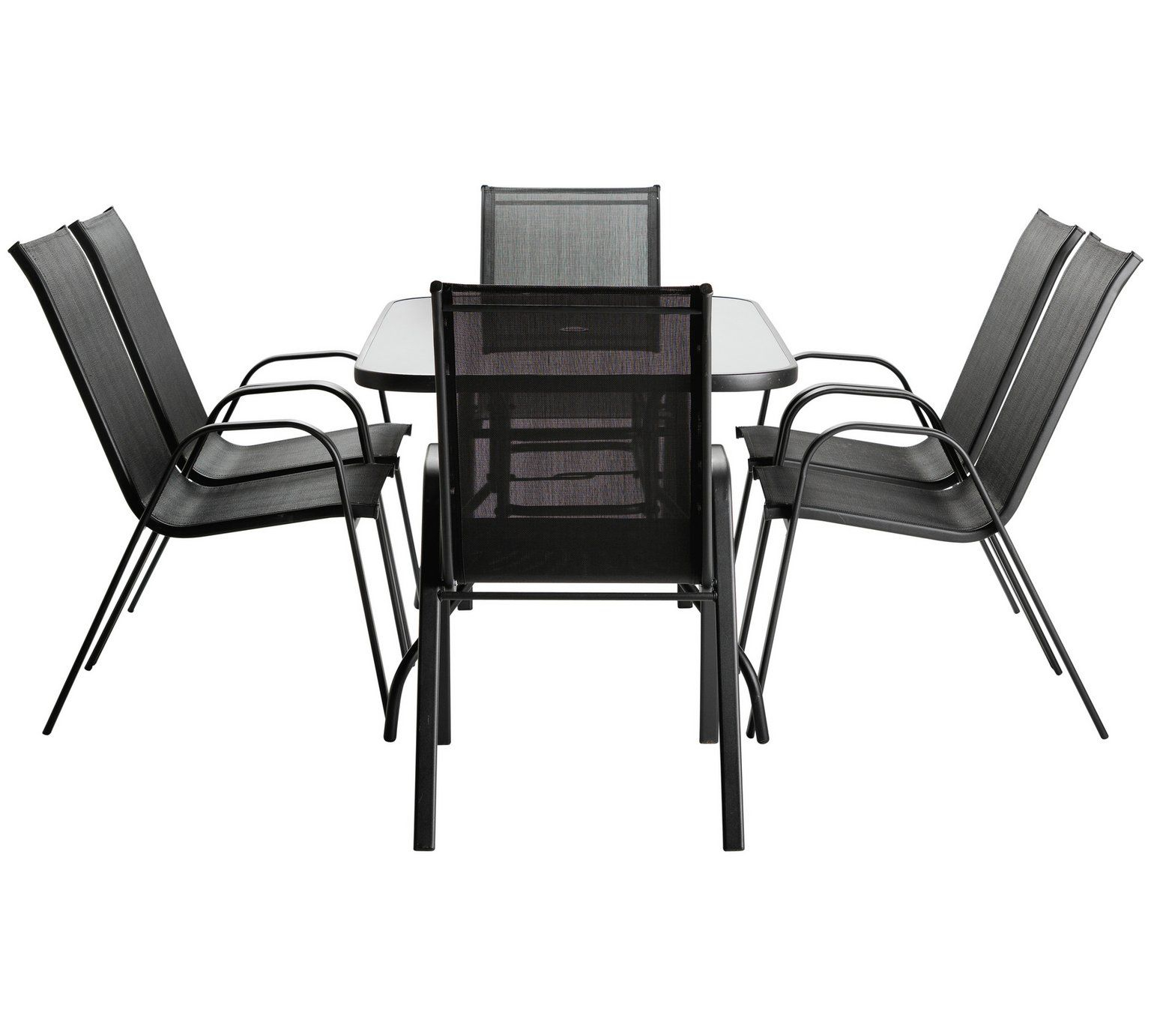 Home Sicily 6 Seater Metal Patio Set Black Garden Table with proportions 1536 X 1382
