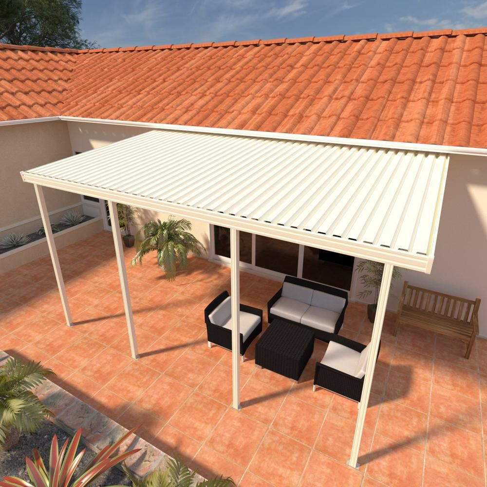 Integra 14 Ft X 12 Ft Ivory Aluminum Attached Solid Patio throughout sizing 1000 X 1000