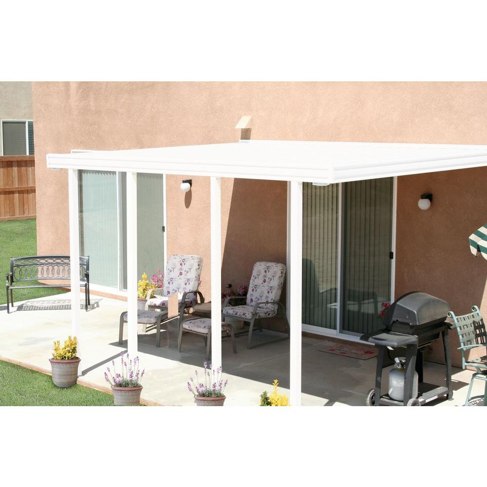 Integra 14 Ft X 12 Ft White Aluminum Attached Solid Patio Cover With 4 Posts 20 Lbs Live Load intended for proportions 1000 X 1000
