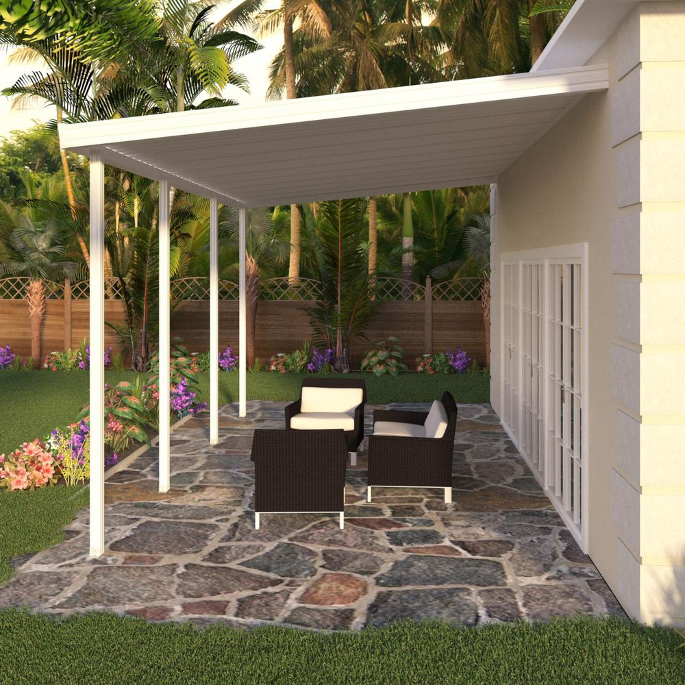 Integra 20 Ft X 12 Ft White Aluminum Attached Solid Patio Cover With 4 Posts 10 Lbs Live Load in proportions 1000 X 1000