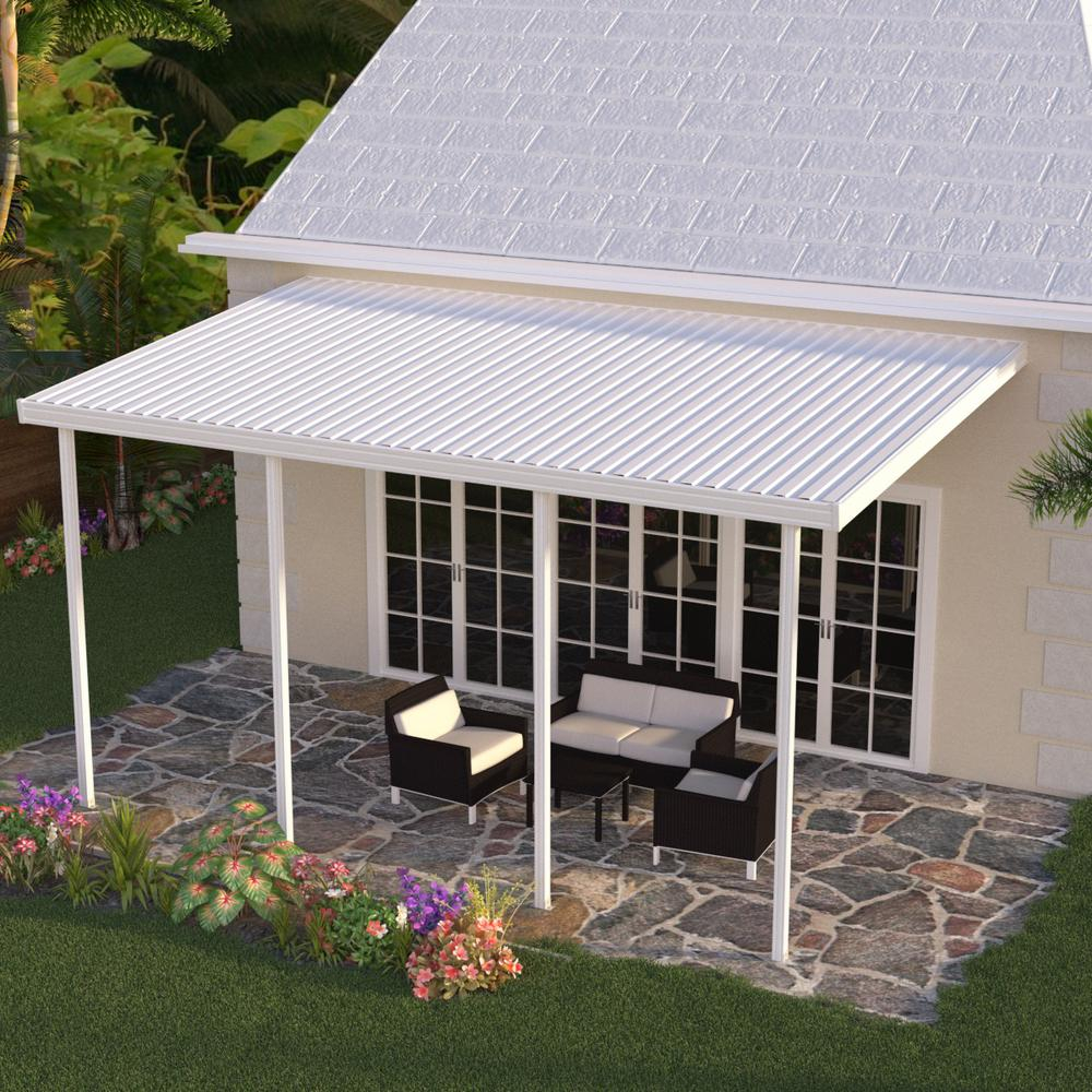 Integra 20 Ft X 12 Ft White Aluminum Attached Solid Patio Cover With 4 Posts 10 Lbs Live Load within measurements 1000 X 1000