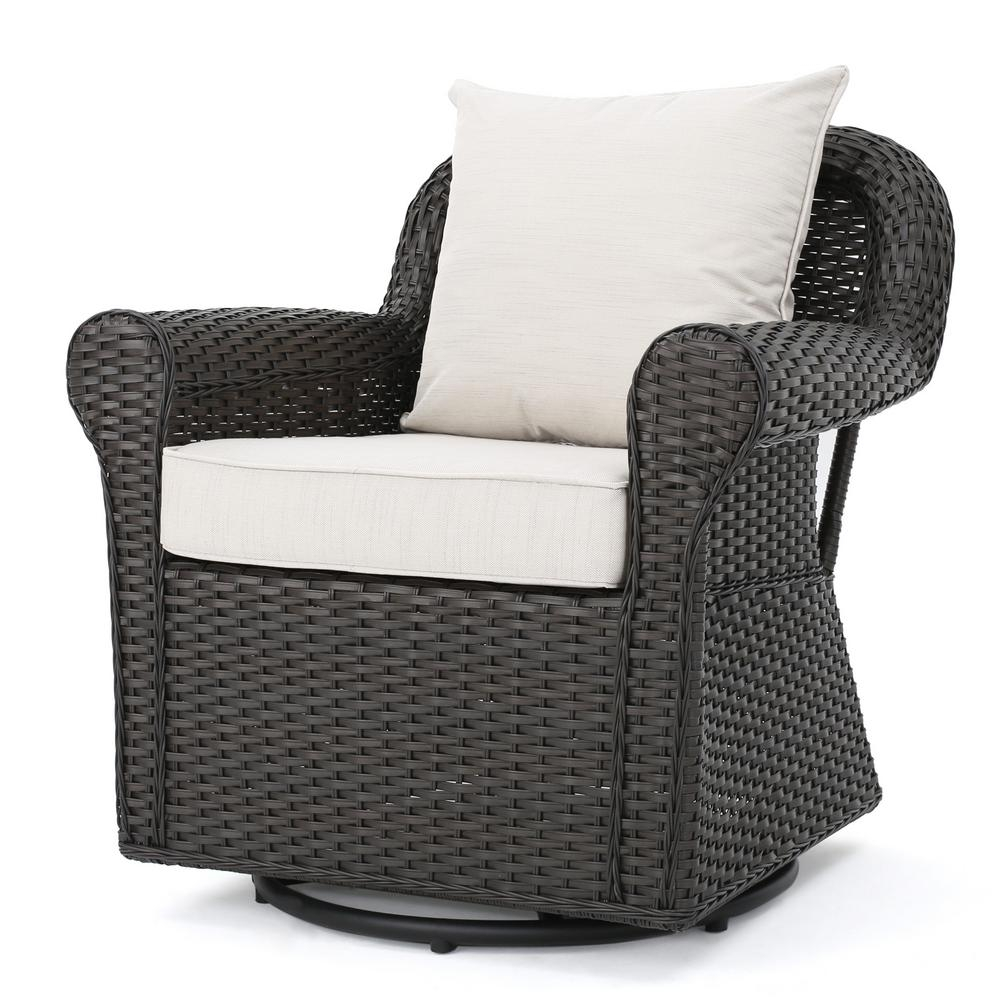 Noble House Amaya Dark Brown Swivel Wicker Outdoor Lounge Chair With Beige Cushions with regard to measurements 1000 X 1000