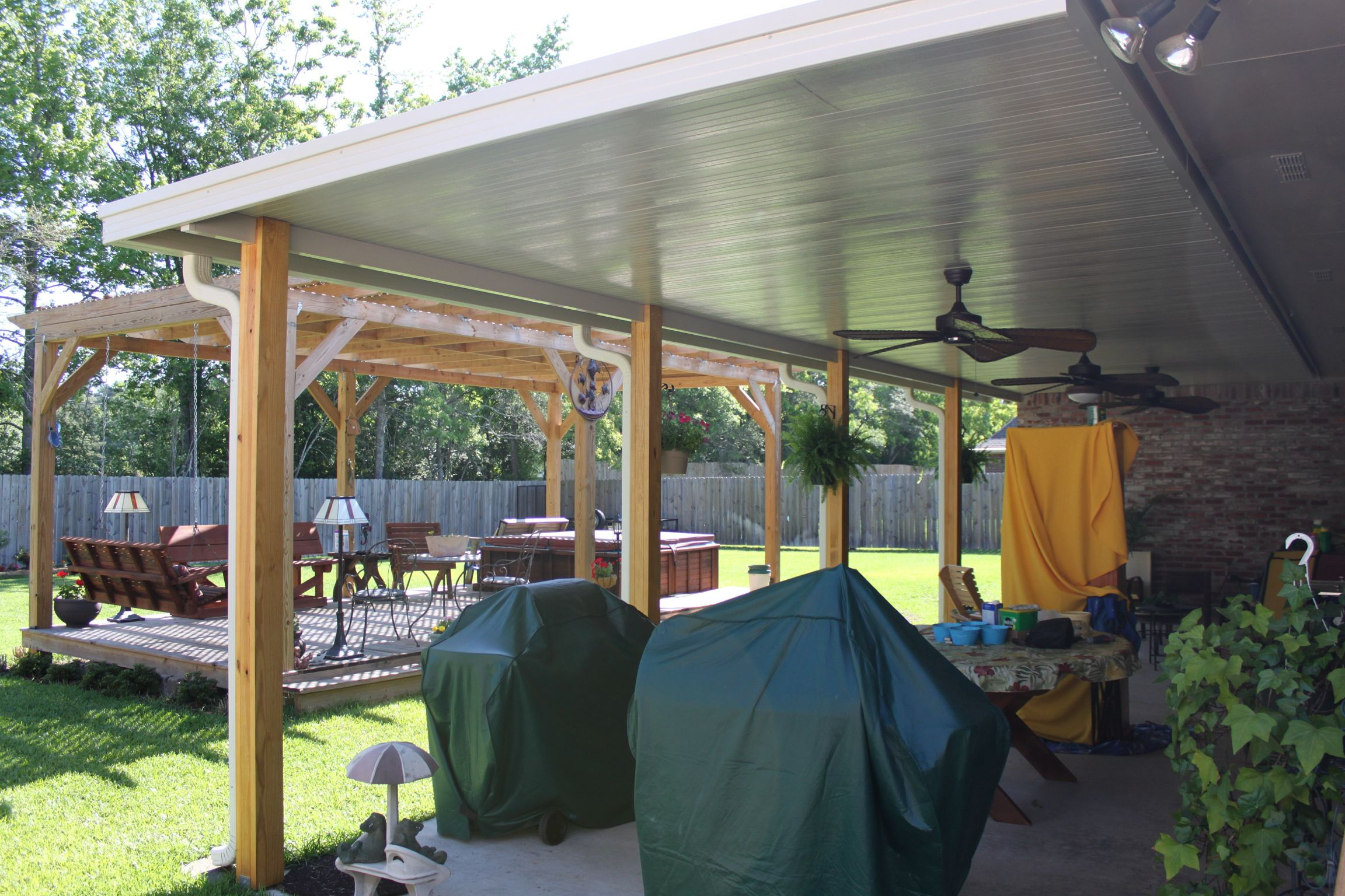 Patio Cover With Wooden Posts Diy Patio Patio Wood Patio within measurements 2304 X 1536