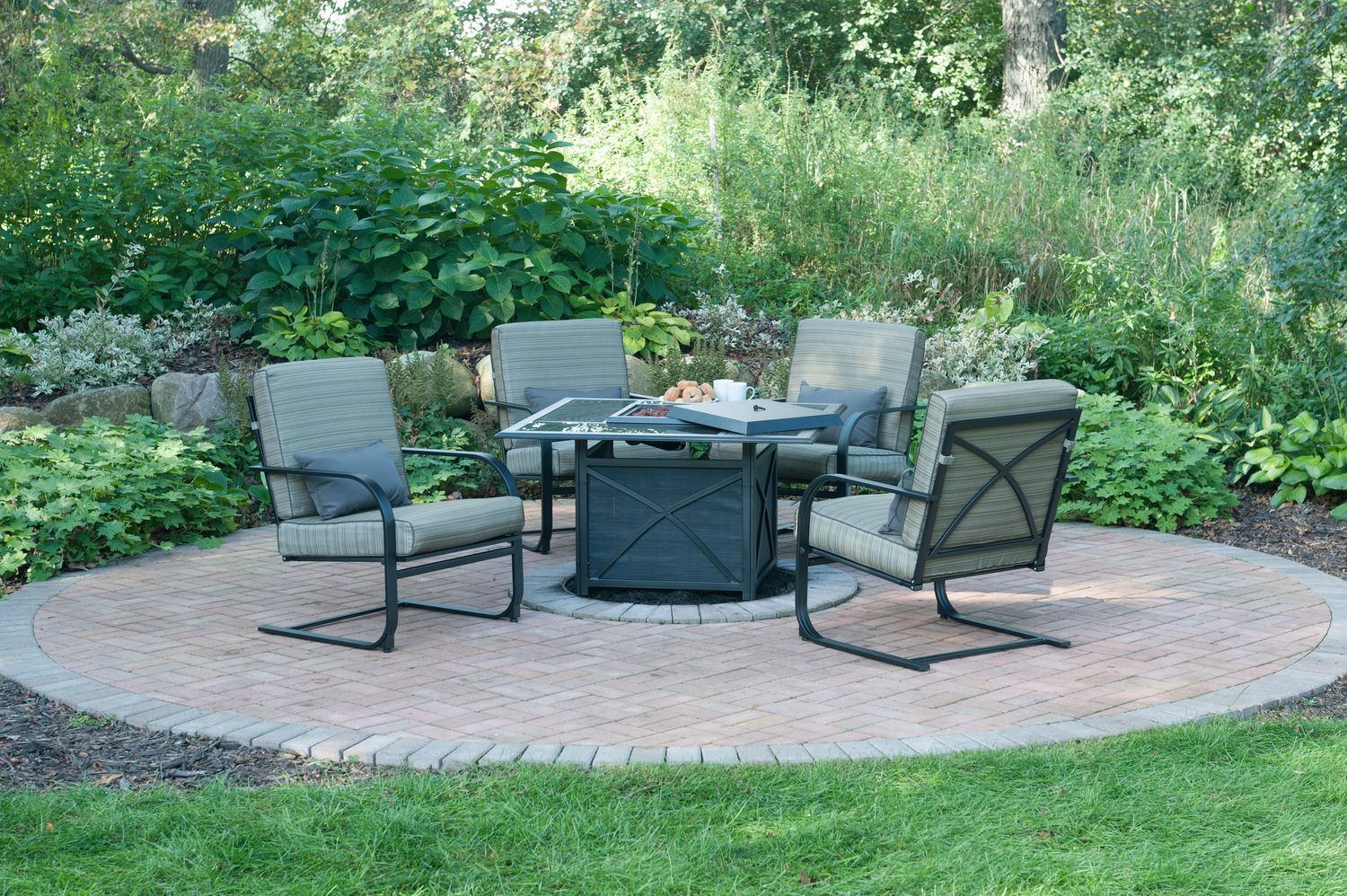Revere Ii 5 Piece Fire Table Set In 2019 2018 Patio Trends throughout size 1500 X 998