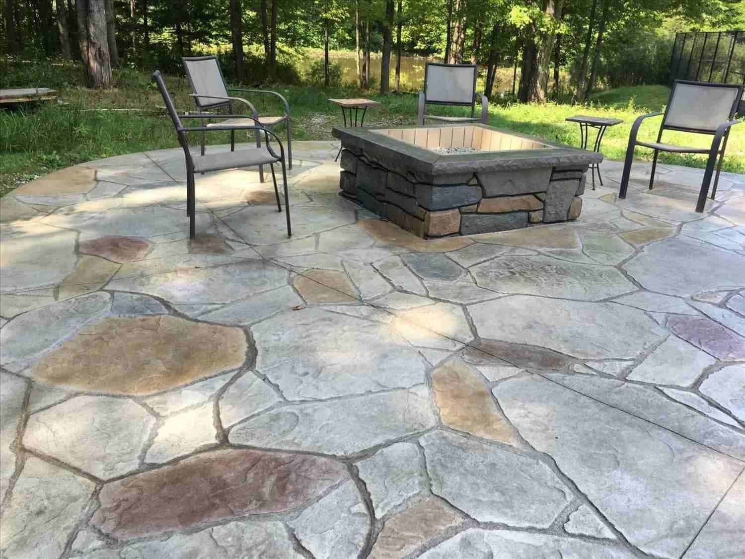 Simple Backyard Stamped Concrete Patio Ideas Flagstone pertaining to proportions 1500 X 1125
