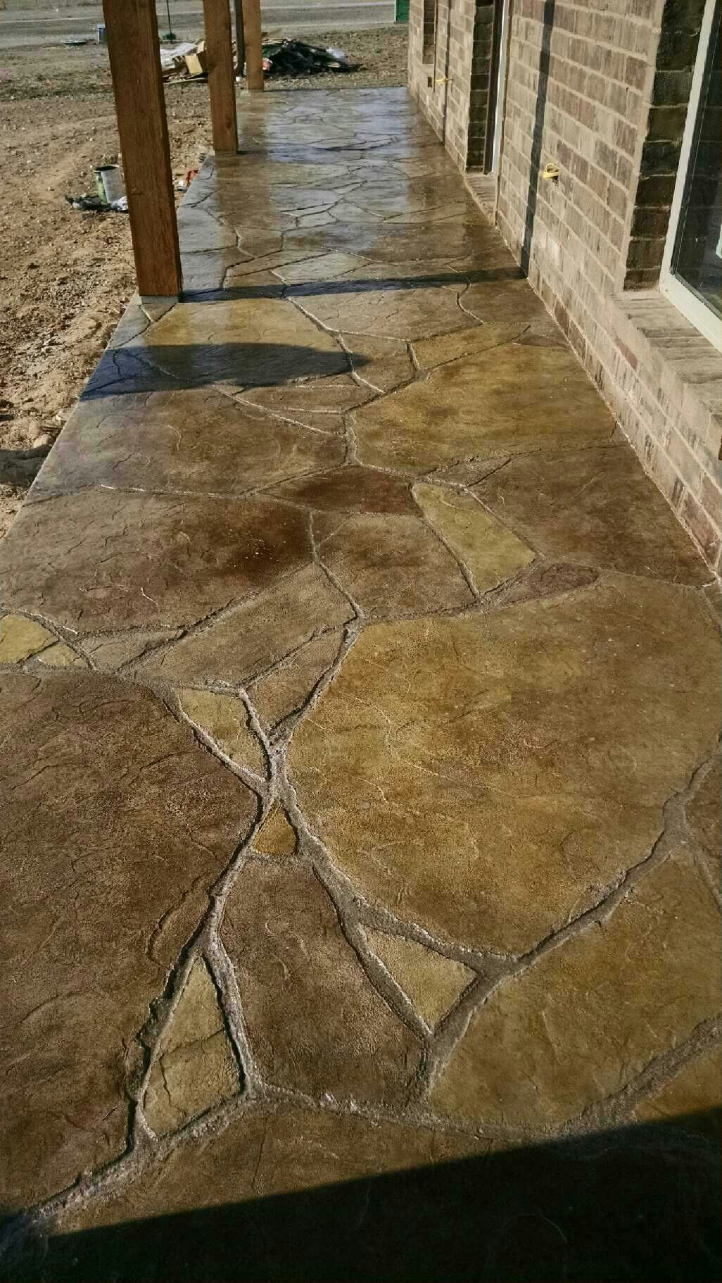 Stamped And Stained Concrete Patio In Flagstone Concrete in measurements 1026 X 1822