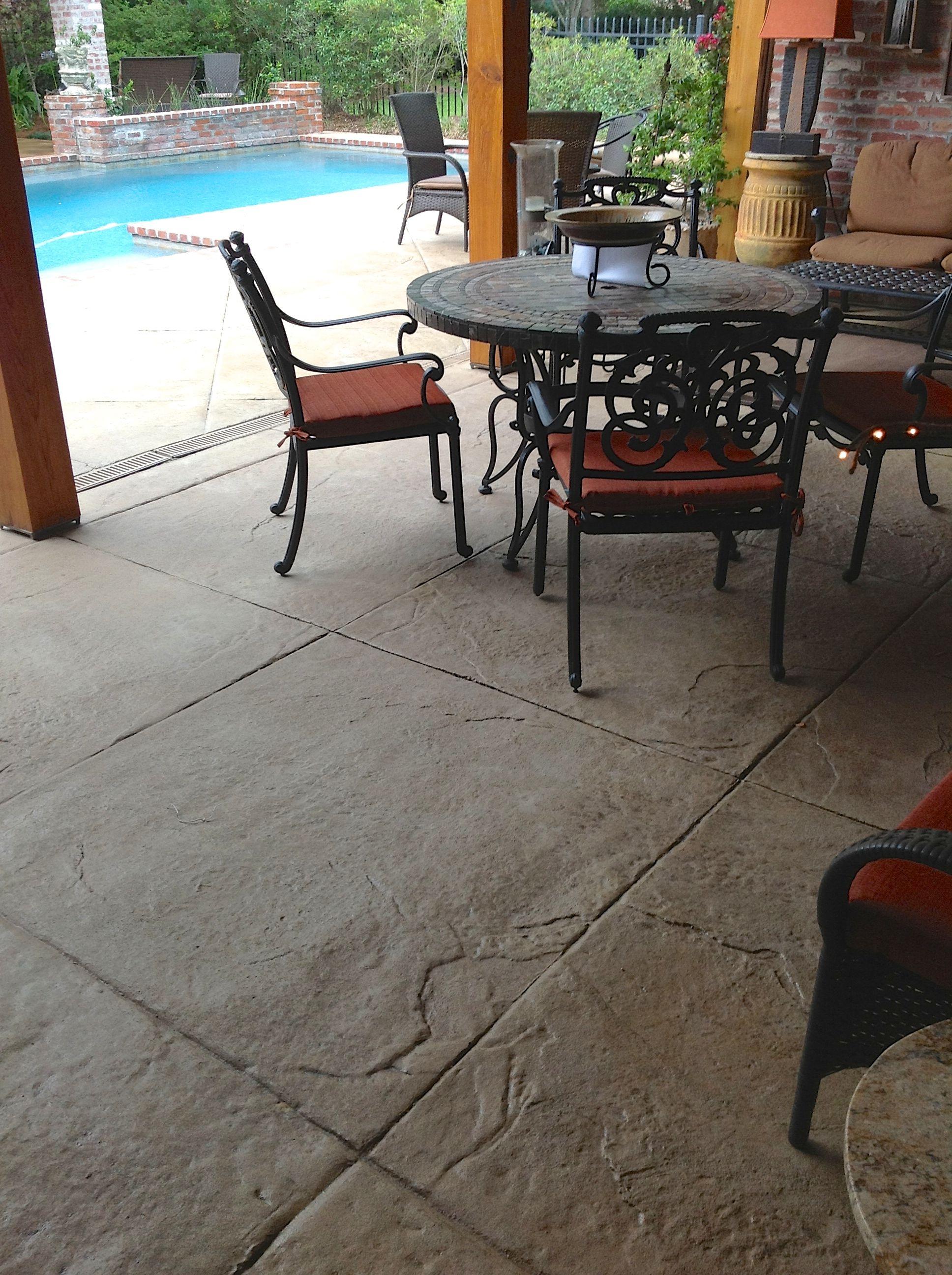 Stamped Textured Concrete Patio Area With Diamond Scoring regarding sizing 1936 X 2592