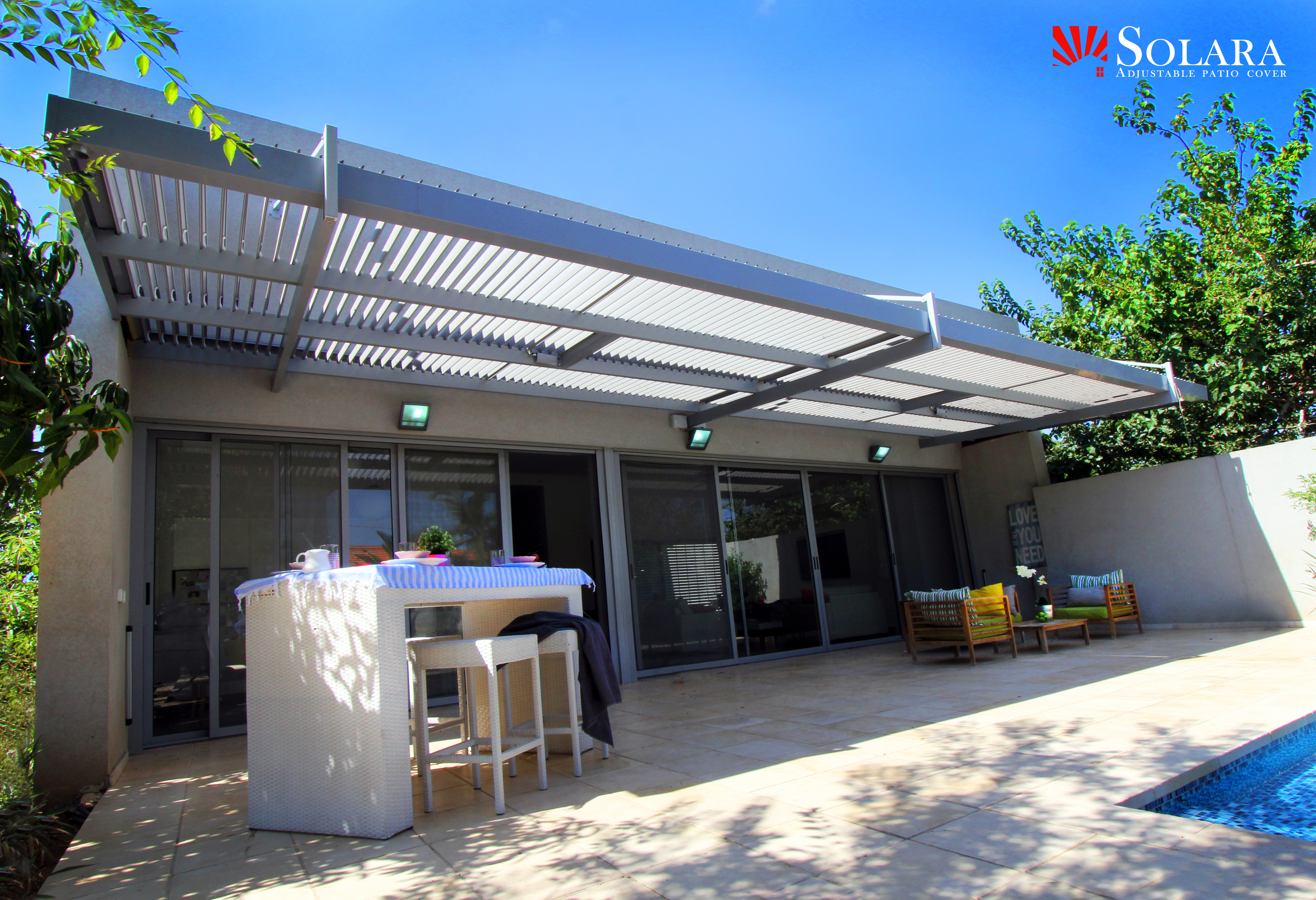 White And Gray Aluminum Patio Cover Solara Patio Cover with size 4960 X 3392
