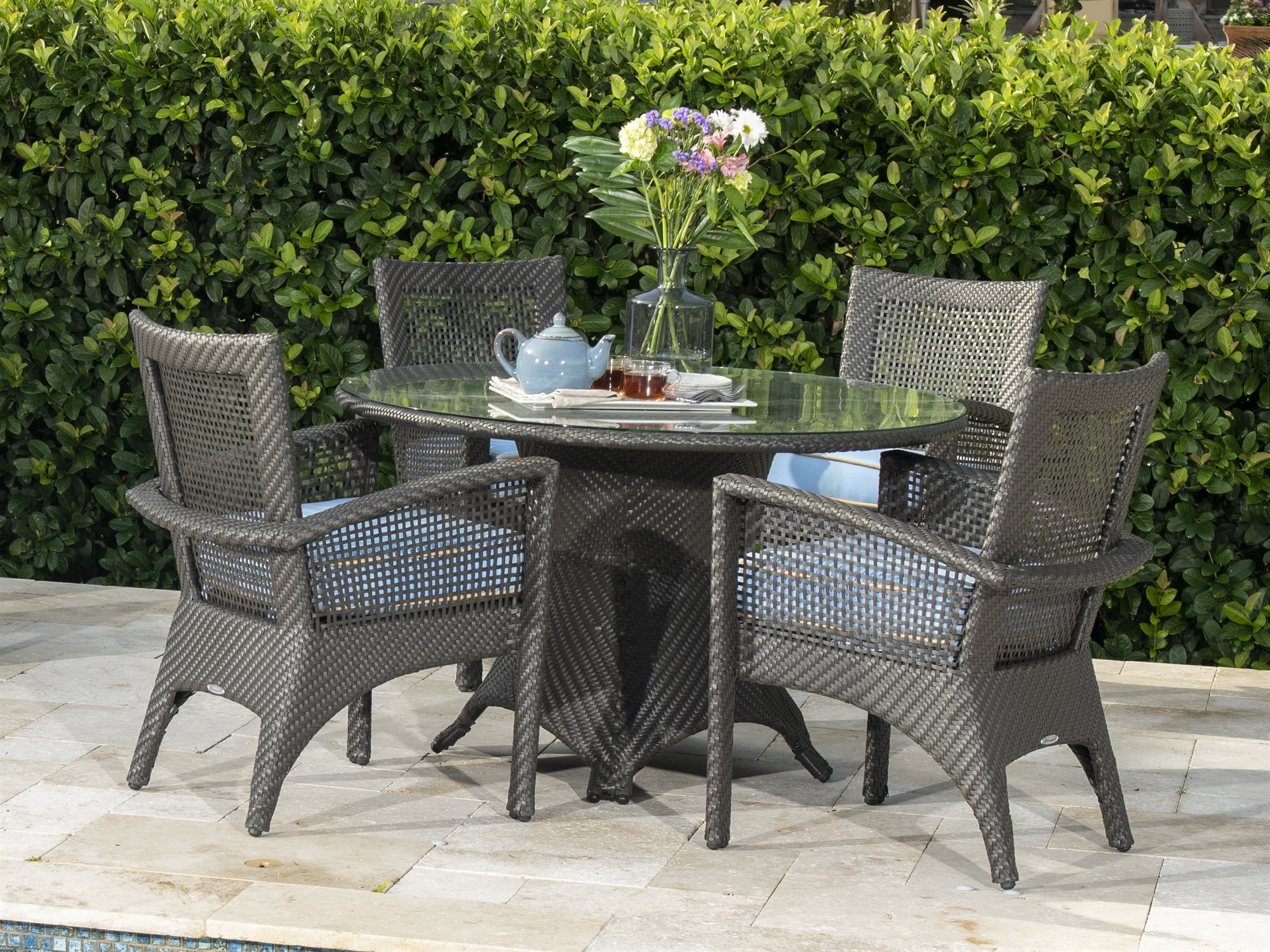Woodard Trinidad Java Wicker Dining Set with measurements 2000 X 1500