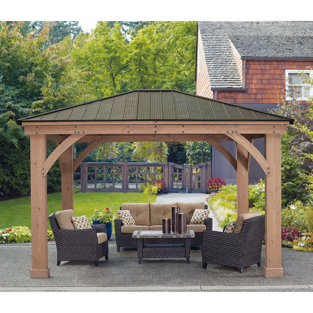 Yardistry 12 X 14 Cedar Gazebo With Aluminum Roof regarding measurements 1200 X 1200